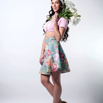 Floral skirt, mini shirt, half circle skirt, high waist mini skirt, skater skirt, flowers skirt