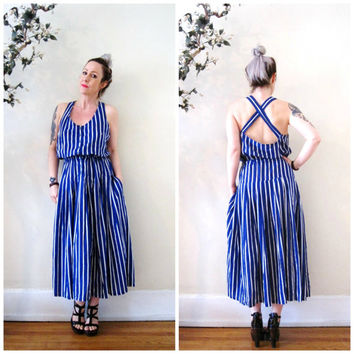vintage 90s 1990's midi Summer dress / blue and white striped pockets open criss cross back drop waist /  nautical minimalist