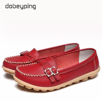 Soft Genuine Leather Shoes Women Slip On Woman Loafers Moccasins Female Flats Casual Women's Buckle Boat Shoe Plush Size 35-41