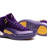 Air Jordan 12 XII Purple Velvet Heiress Basketball Shoes Men Women Cheap Outdoor Sports Shoes Size US5.5-13 With Box