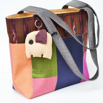 Cotton&silk Tote Bag Mixed colors With zipper On Side (CTB041)