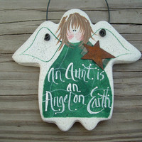 Aunt Salt Dough Gift Ornament Angel Stocking Stuffer Birthday or Xmas