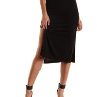 Ribbed Side Slit Midi Skirt by Charlotte Russe
