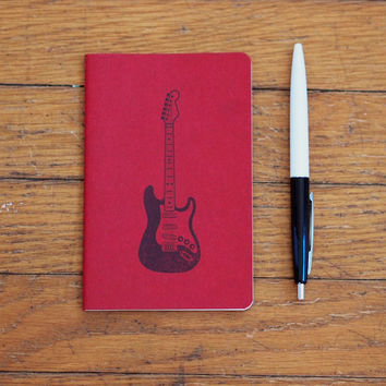 Electric Guitar notebook, fender stratocaster journal, pocket moleskine music gift