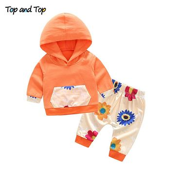 Baby Girl Clothes Autumn Long Sleeve Hooded Sweatshirt Pants 2Pcs set Flower Cotton Baby Girl Clothing Sets