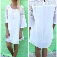 Mediterranean Getaway Bell Sleeve Lace Off White Dress
