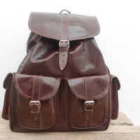 Dark Brown Leather Extra Large backpack, Satchel bag Handmade Soft Leather School College Travel Picnic Weekend bag, Birthday Gift