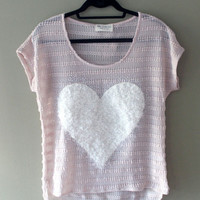 American Sweetheart Casual Loose Fit Big Furry Heart I Love You Top Shirt SMALL