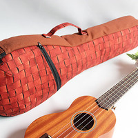 Soprano long neck ukulele case & ribbon lei (Ready to ship) / red brown / gig bag / instrument case