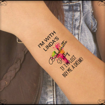 Temporary Tattoo Bachelorette Party 4 Custom Wrist Tattoos Thin Durable One Free Bride Tattoo