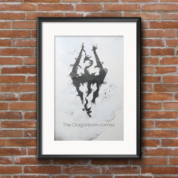 Skyrim Dragonborn Minimalist Digital Watercolor Print