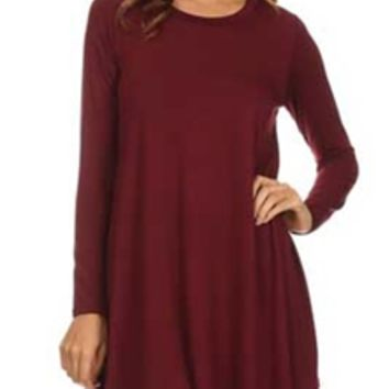 Gliks - Jolie Solid Long Sleeve T-Shirt Dress in Burgundy
