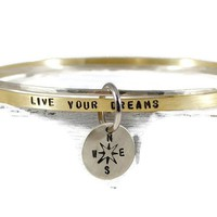 Live Your Dreams. Personalized Mantra Bangle Bracelet Set With Dangle Disc Charm.