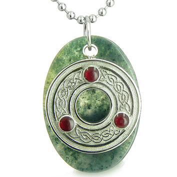 Amulet Celtic Triquetra Protection Knot Moss Agate Good Luck 18 Inch Pendant Necklace