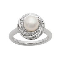 Simply Vera Vera Wang Freshwater Cultured Pearl & Diamond Accent Sterling Silver Knot Ring (White)
