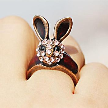 R032 Vintage Women Finger Rings Crystal Bunny Red Fashion Jewelry Animal Long Ear Rabbit Anillos Anel Simple Cute Ring