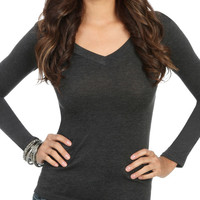 Long Sleeve V-Neck Tee | Shop Tops at Wet Seal