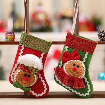 Christmas Gift Bag 25*15cm Candy cottage Santa Claus Snowman Elk Xmas Decoration Ornament Sock Decors
