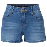 LE3NO Womens Fitted Stretchy Denim Shorts with Pockets