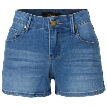 Fitted Stretchy Denim Shorts with Pockets
