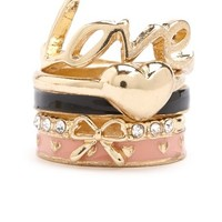 ENAMEL HEART STACKABLE RING SET