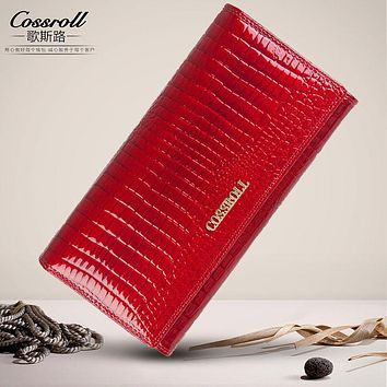 Cossroll women genuine leather wallets crocodile pattern long women's purse Coin handbags with credit card holder