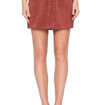 Willow & Clay Perforated Suede Miniskirt | Nordstrom