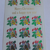 Closing sale - vintage Merry christmas and a happy new year  postcard with stickers - 1989