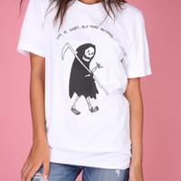 Buy More Records Grim Reaper White Graphic Unisex Tee