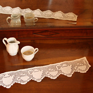crocheted filet lace trim, tablecloths, curtains, towels, table runners, cup, teapot, shelves embellishment