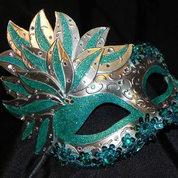 Teal and Silver Showgirl Masquerade Mask