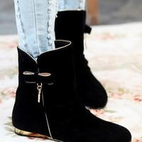 New Women Black Round Toe Flat Bow Casual Mid-Calf Boots