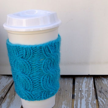 SALE 25% OFF -Turquoise Blue Coffee Cup Cozy, Coffee Cup Sleeve, Coffee Mug Cozy - Cable Knit Coffee Cup Sleeve in Turquoise Blue