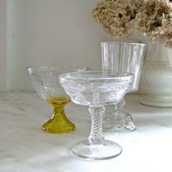 Mismatched vintage ice cream social dishes ~ 2 footed dishes and 1 footed glass
