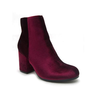 Burgundy Block Heel Booties