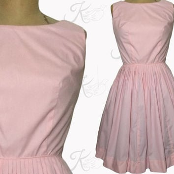 1950s 1960s Dress, 60s 50s Dress, Pink Dress, Full Skirt Dress, Pleated Skirt, Sleeveless Dress, Vintage Basics, Vintage Dress, Medium Dress