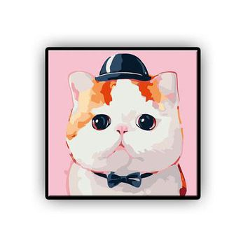 Top Hat Cat DIY Kids Paint By Numbers Kit: Includes Acrylic Paints, Brushes and Canvas with Frame Option