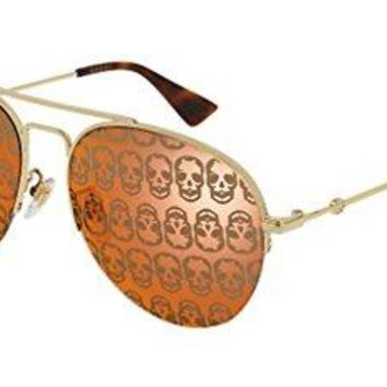 Gucci GG 0107 S- 002 GOLD/ORANGE Sunglasses