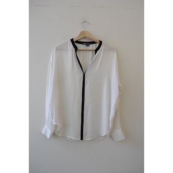 Vince. Black & White Silk Blouse