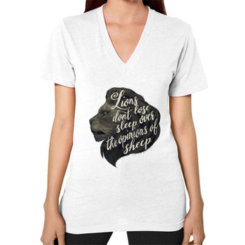 Lions don't lose sleep over the opinions of sheep V-Neck (on woman)