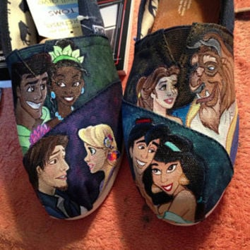Disney princes and princesses, Custom, Hand painted Toms.