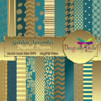 Golden November , digital paper, commercial use, scrapbook papers, background, gold, glitter, teal, Thanksgiving, patterns
