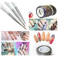 My Sky 30Pcs Mixed Colors Rolls Striping Tape Line Nail Art Tips Decoration Sticker + Nail Art Pen Dotting Pen Liner Pen Nail Art Brushes (Style10)