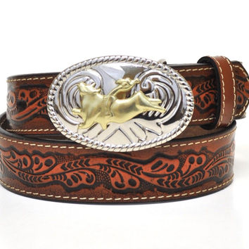 Nocona Kid's Western Bullrider Tooled Leather Belt-Brown