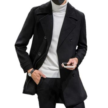 South Korean style double-breasted men long Woolen cloth coat jacket turn-down collar full sleeves solid slim fit trench coats