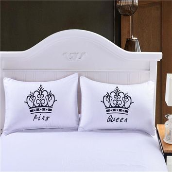 LFH Pack f 2 Royal Crown Pillow Cases Queen King Designer Pillow Covers Decorative Couple Pillow Shams for Gift Wedding