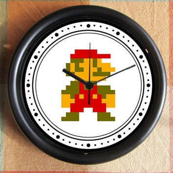 SUPER MARIO BROTHERS Mario 8 Bit alone 10 inch Resin Wall Clock Under 25.00   Custom Clocks too- any subject- Contact Me Geekery