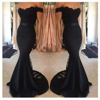 Sheath Mermaid Prom Dress,Black Prom Dress,Long Evening Dresses