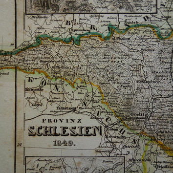 SILESIA old map of Silesia province Germany 1849 antique maps of Legnica Breslau Wroclaw Poland alte historische karte von Schlesien Oppeln