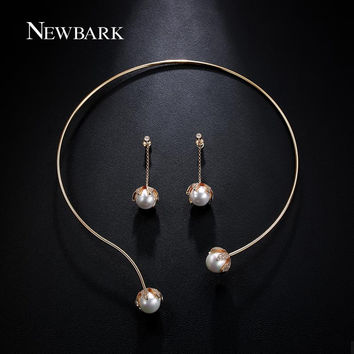 NEWBARK Korean Style Jewelry Set Zirconia With Imitation Pearls Torques Collar Necklace Jewelry And Earrings For Women Gifts